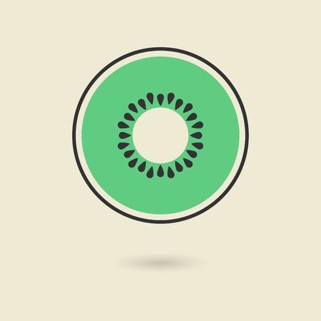 fruitage: kiwi icon with shadow. isolated on stylish background. logo design modern vector illustration Illustration
