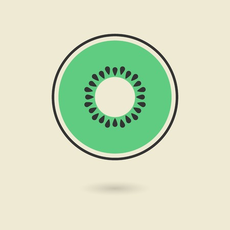 eating healthy: kiwi icon with shadow. isolated on stylish background. logo design modern vector illustration Illustration