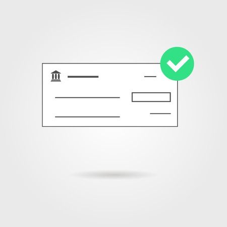 chequebook: bank check with green check mark icon and shadow. isolated on grey stylish background. concept of banking transaction, shopping, earnings and payment of bills. modern trendy design vector illustration