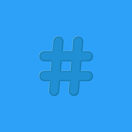 hashtag embossed on blue background. concept of social media and number sign. trendy modern vector illustration Vector