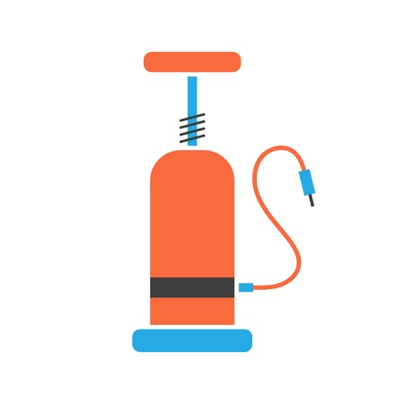 orange and blue bicycle pump icon. isolated on white background. flat style design modern vector illustration Vector