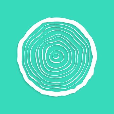 forestry: white tree rings with shadow. concept of saw cut tree trunk, forestry and sawmill. isolated on green background. logo design trendy modern vector illustration