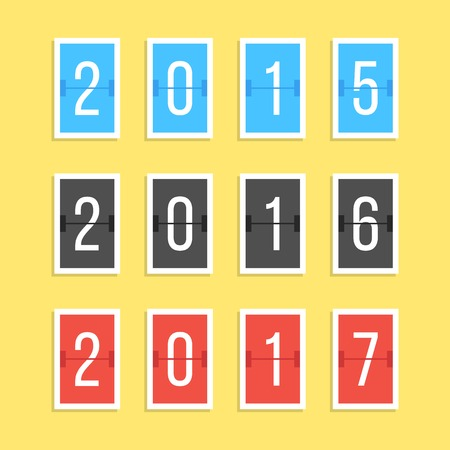indicator board: scoreboard year numbers isolated on yellow background. concept of number counter template for 2015-2017 countdown. flat style modern trendy design vector illustration