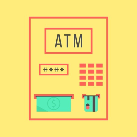 bank withdrawal: simple atm template isolated on yellow background. concept of withdrawal, bank settlements and pay regular bills. flat style trendy modern design vector illustration