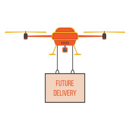 Livraison future avec quadrocopters rouge et jaune. concept de livraison rapide, un service innovant et télécommande de jouet. isolé sur fond blanc. design moderne style tendance plat illustration vectorielle Banque d'images - 38656227