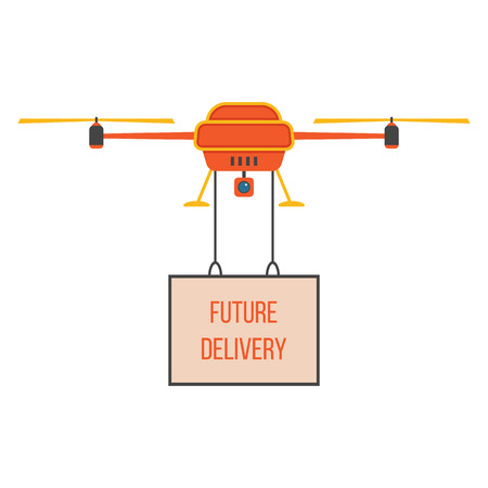 future delivery with red and yellow quadrocopter. concept of fast shipping, innovative service and remote control toy. isolated on white background. flat style trendy modern design vector illustration