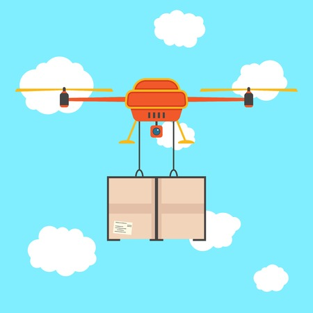 red quadrocopter with cargo in the sky. concept of fast shipping, innovative service and remote control toy. isolated on stylish background. flat style trendy modern design vector illustration