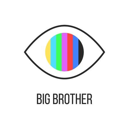big brother is watching you van TV. concept zien hacken, ongeautoriseerde toegang, invloed op het bewustzijn van de samenleving. geïsoleerd op een witte achtergrond. trendy modern logo ontwerp vector illustratie