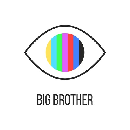 espionaje: gran hermano te est� mirando la televisi�n. concepto de ver la pirater�a, el acceso no autorizado, influencia en la conciencia de la sociedad. aislado en el fondo blanco. moda moderna ilustraci�n insignia de dise�o vectorial