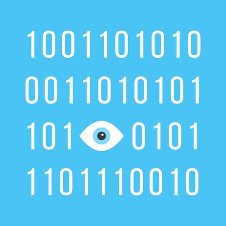 consciousness: concept of big brother is watching you with binary code. see hacking, unauthorized access, influence on the consciousness of society. isolated on blue background. trendy modern vector illustration Illustration