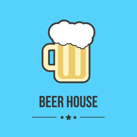 beer house: glass of beer isolated on blue background. concept of brasserie, restaurant business, cheerful company, beer house or label. flat style logo design trendy modern vector illustration