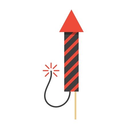 pyrotechnics: red christmas firework rocket icon. concept of new year celebrations, fun party, firecracker and safe pyrotechnics. isolated on white background. flat style logo design modern vector illustration