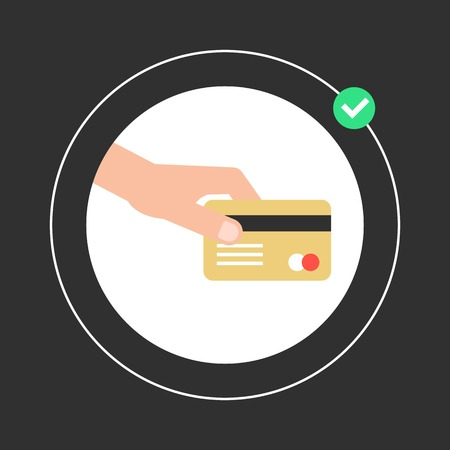 hand holding golden credit card in white circle. concept of payment of bills, VIP customer, shopping and remittance. isolated on black background. flat style trendy modern design vector illustration Vector