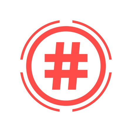 hashtag icon in red double circle. isolated on white background. flat style trendy modern logo design vector illustration Vector