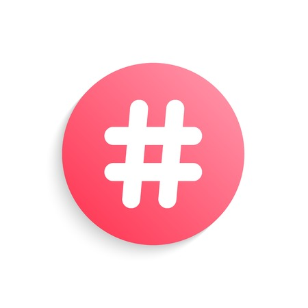 red hashtag button with shadow. concept of social media and number sign. isolated on white background. trendy modern logo design vector illustration Vector