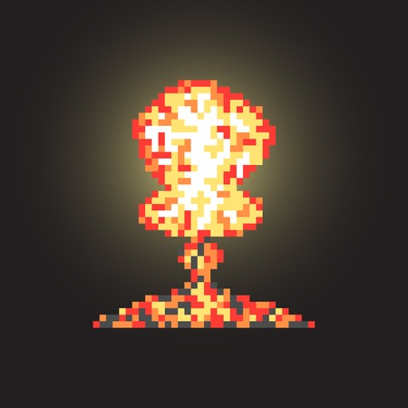 colored atomic explosion in pixel art with flash. isolated on black background. trendy modern design vector illustration