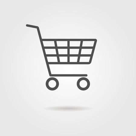 black shopping trolley with shadow. concept of daily purchases, christmas sale and on-line ecommerce. isolated on grey stylish background. trendy modern logo design vector illustration Vettoriali