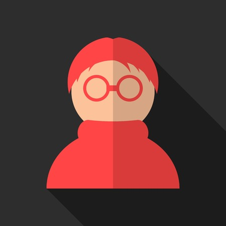red anonymous icon with long shadow. isolated on black background. flat style modern design vector illustration