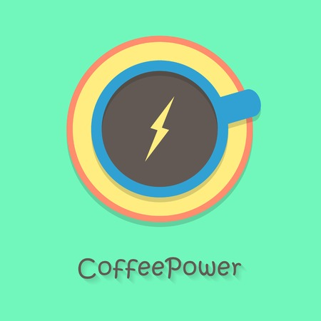 jolt: coffee power with blue cup. concept of cheerfulness, traditional breakfast, recharge your batteries and beginning of the day. flat style trendy modern  design vector illustration