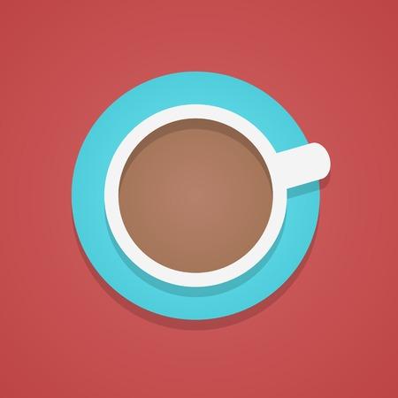 filiżanka kawy: widok z góry na filiżankę kawy. Koncepcja radości, tradycyjne śniadanie, naładować baterie i na początku dnia. modny nowoczesny styl mieszkania projektowanie logo ilustracji wektorowych