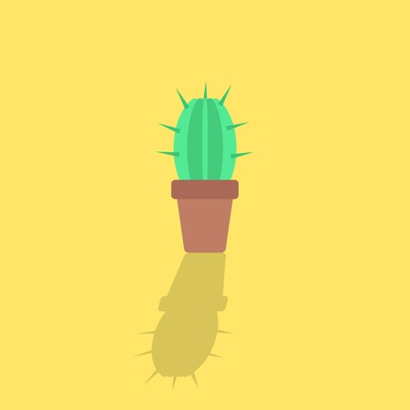 prickles: cactus icon with shadow. isolated on yellow background. flat style modern design vector illustration