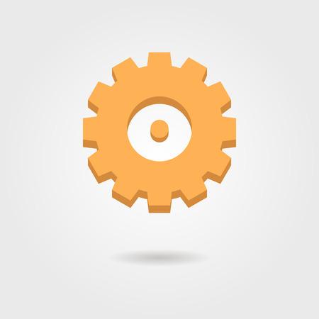 orange gear icon with shadow. isolated on grey stylish background. flat style modern logo design vector illustration