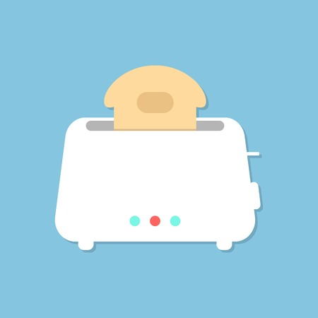 bread maker: white toaster with shadow isolated on blue background. concept of beginning of the day, luncheon and homeliness. flat style trendy modern design vector illustration Illustration