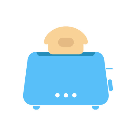 luncheon: simple blue toaster icon. isolated on white background. concept of beginning of the day, luncheon and homeliness. flat style trendy modern logo design vector illustration