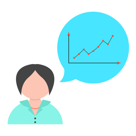 sales growth: business woman with speech bubble and graph. concept of report, sales growth, achievement and business development. isolated on white background. flat style trendy modern design vector illustration