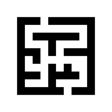 laberinto: icono laberinto negro aislado sobre fondo blanco. moda moderna ilustraci�n insignia de dise�o vectorial