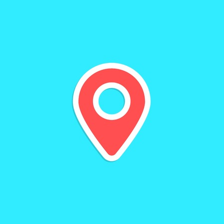 geolocation: red pin sticker isolated on blue background. concept of finding the right place, geolocation and navigation on city. flat style trendy modern logo design vector illustration
