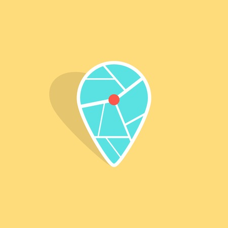 geolocation: turquoise pin icon with shadow isolated on yellow background. concept of finding the right place, geolocation and navigation on city. flat style trendy modern logo design vector illustration
