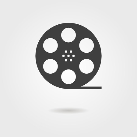 hollywood movie: film reel icon with shadow. concept of filmmaking, documentary, photograph, cinematograph and 35 mm film. isolated on grey stylish background. trendy modern logo design vector illustration Illustration