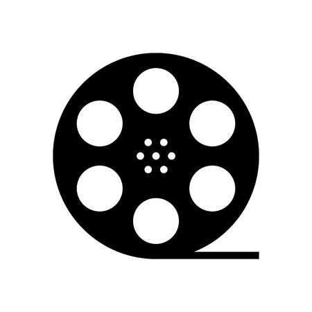 cinematograph: black film reel silhouette. concept of filmmaking, documentary, photograph, cinematograph and 35 mm film. isolated on white background. trendy modern logo design vector illustration Illustration