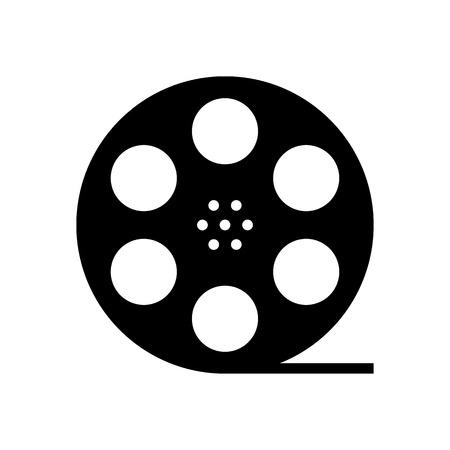 cinematograph: negro silueta de rollo de pel�cula. concepto de cine, documental, fotograf�a, cinemat�grafo y la pel�cula de 35 mm. aislado en el fondo blanco. moda moderna ilustraci�n insignia de dise�o vectorial