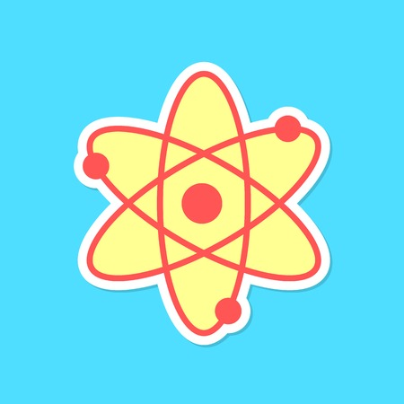 sciences: atom sticker with shadow isolated on blue background. concept of scientific knowledge, applied sciences and structure of the universe. flat style trendy modern logo design vector illustration Illustration