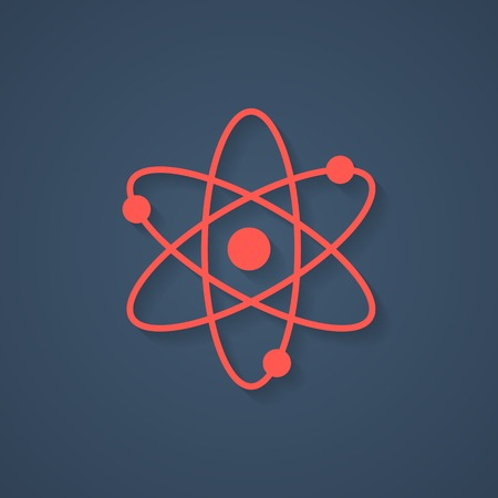 sciences: red atom icon with shadow. isolated on blue stylish background. concept of scientific knowledge, applied sciences and structure of the universe. trendy modern logo design vector illustration Illustration