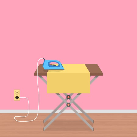 steam iron: concept of house work with ironing board and clothes iron. conceptual of housekeeping, cleaning service and household appliances. flat style trendy modern design vector illustration Illustration