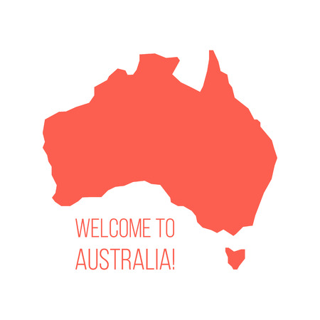red silhouette of Australia with inscription welcome. concept of world tour, international tourism and invitation travelers. isolated on white background. trendy modern design vector illustration Vettoriali