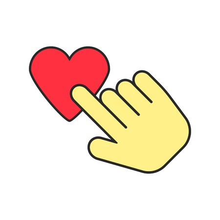 usability: yellow hand icon press heart. concept of usability, like, valentine day, charity and social activity. isolated on white background. flat style trendy modern logo design vector illustration