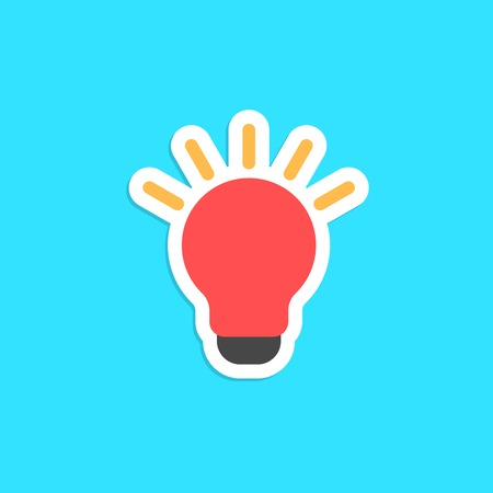 novel: red bulb icon sticker isolated on blue background. concept of innovation, new solution, eureka and novel idea. flat style trendy modern design vector illustration Illustration