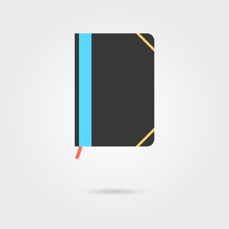 moleskin: note book icon with shadow. concept of daily planning and business management. isolated on grey stylish background. flat style trendy modern design vector illustration