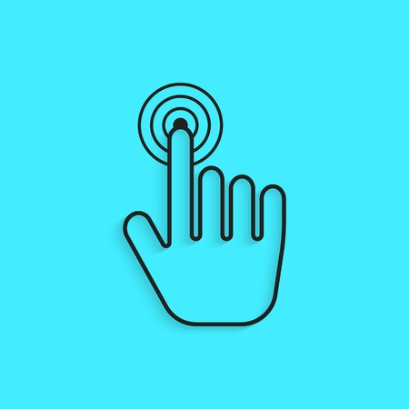 usability: black outline hand icon press with shadow. concept of usability, navigation on the internet and information retrieval. isolated on blue background. trendy modern design vector illustration