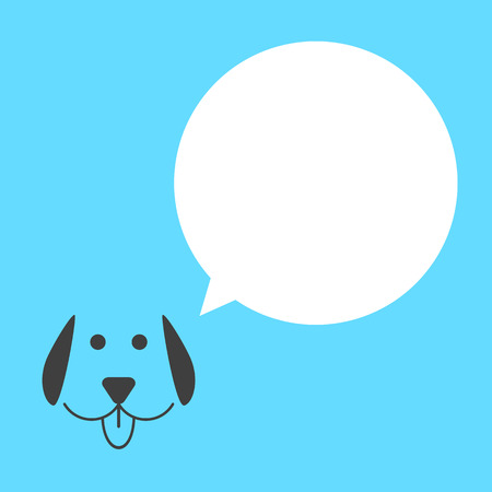 mans best friend: black dog with white speech bubble. concept of talking animals, template postcard and mans best friend. isolated on blue background. flat style trendy modern design vector illustration