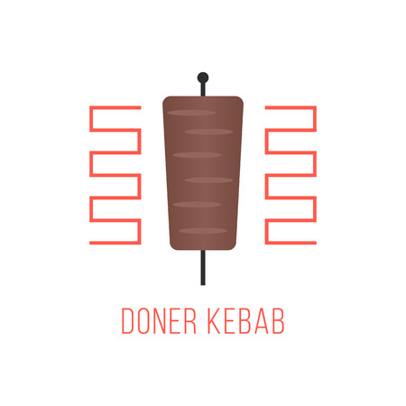 quick snack: doner kebab isolated on white background. concept of quick meals, street food, small business and light snack. flat style trendy modern design vector illustration