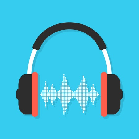 audio equipment: headphones and equalizer with shadow. concept of love for music, audio equipment and melomania. isolated on blue background. flat style trendy modern logo design vector illustration