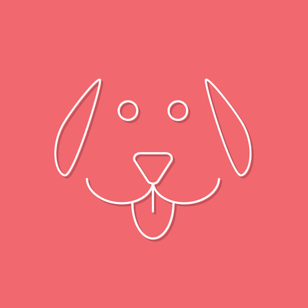 mans best friend: white outline dog icon on pink background. concept of mans best friend, cuddling pets and template postcard. flat style trendy modern design vector illustration