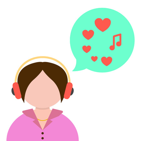 audio equipment: girl listening to music with green speech bubble. concept of love for music, audio equipment and melomania. isolated on white background. flat style trendy modern design vector illustration Illustration