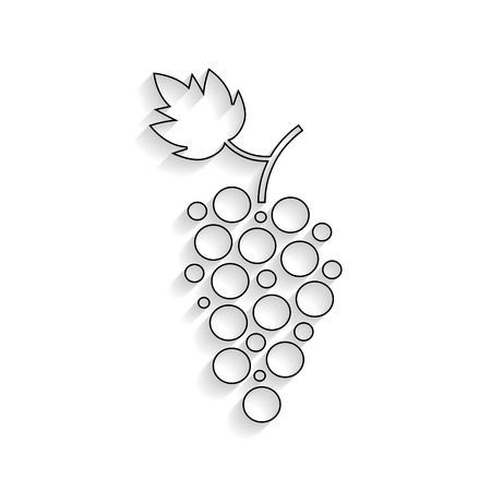 viticulture: black outline grapes icon with shadow. concept of winemaking, viticulture, wine house, autumn harvest and farming