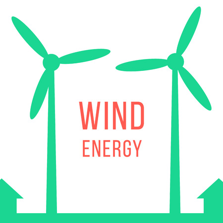 renewables: green energy with two wind motors. concept of renewables, world of tomorrow, eco-friendly, economy and recycled.